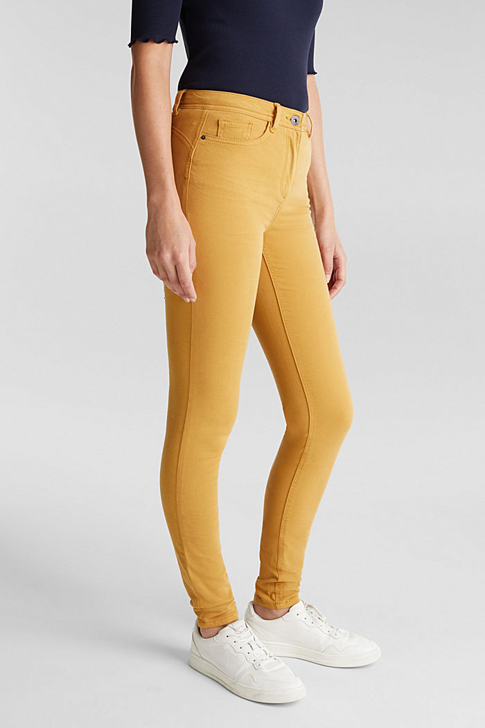 Super stretch trousers containing organic cotton, AMBER YELLOW, detail image number 0