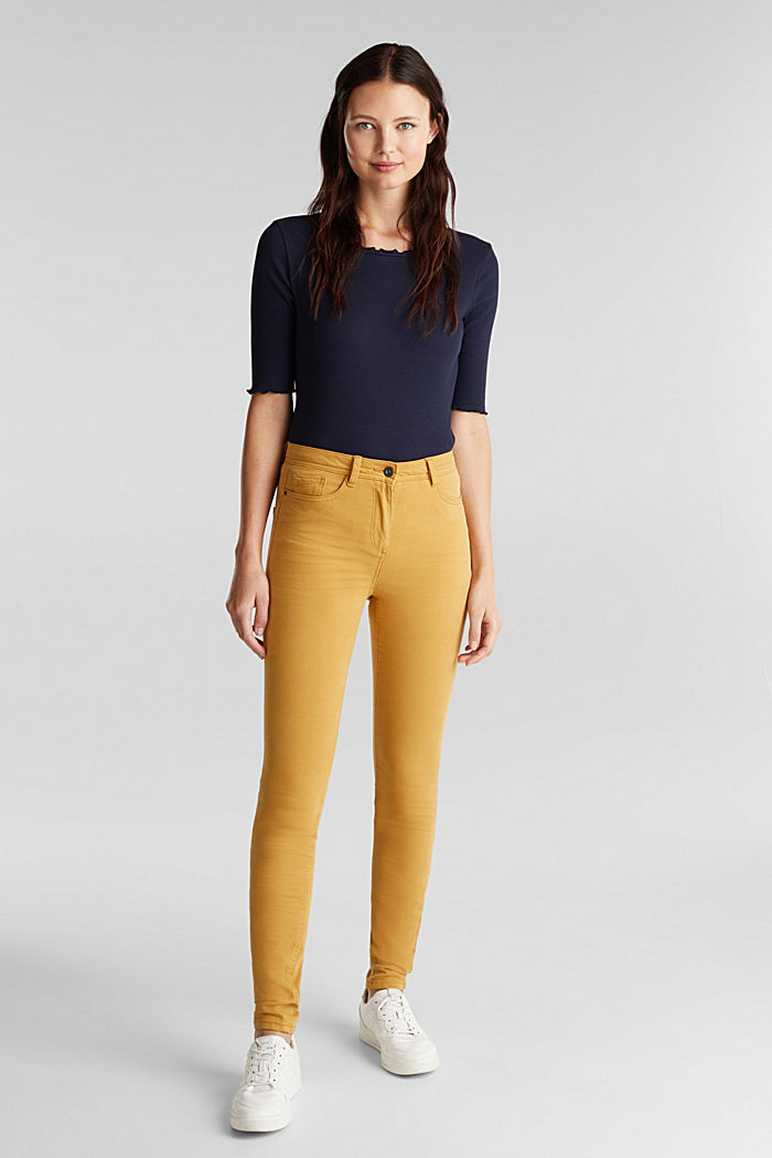 Super stretch trousers containing organic cotton, AMBER YELLOW, detail image number 1