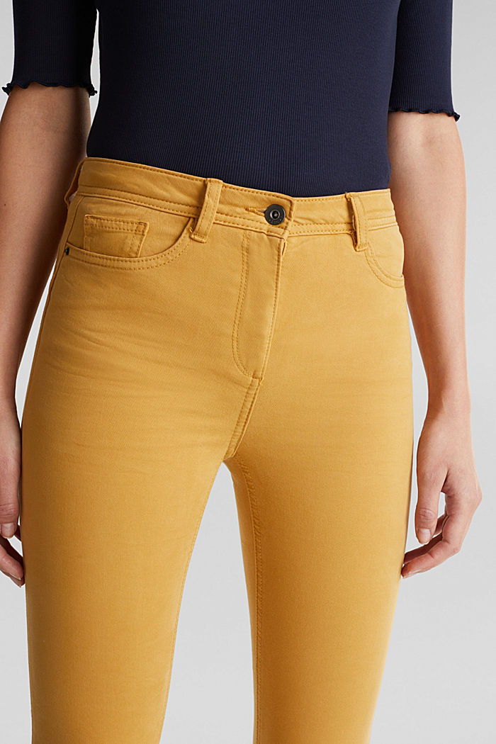 Super stretch trousers containing organic cotton, AMBER YELLOW, detail image number 2