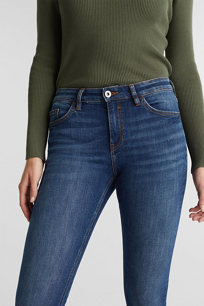 Skinny jeans with organic cotton, BLUE DARK WASHED, detail image number 5