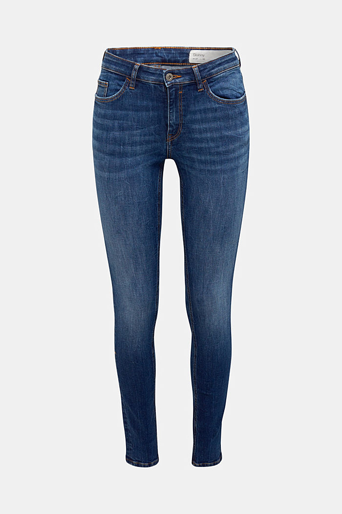 Skinny jeans with organic cotton, BLUE DARK WASHED, detail image number 6