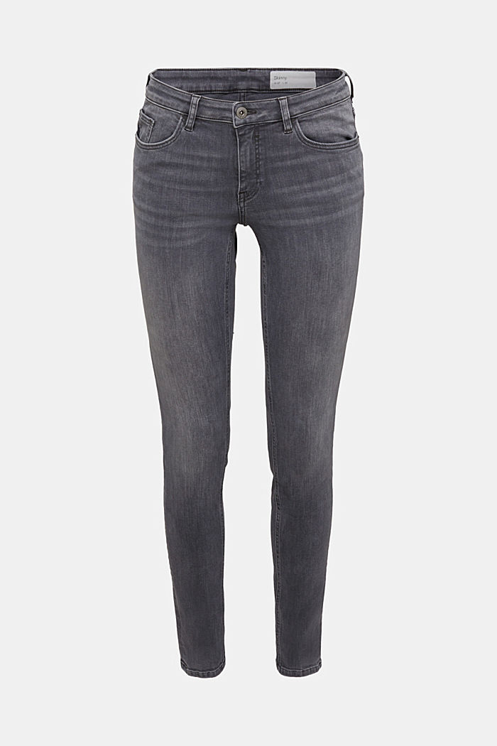 Skinny super stretch jeans, GREY MEDIUM WASHED, overview