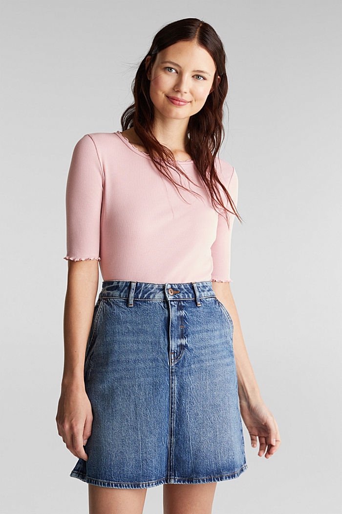 Jeans-Rock mit Organic Cotton, BLUE MEDIUM WASHED, detail image number 6