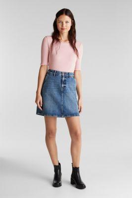 Denim skirt with organic cotton, BLUE MEDIUM WASH, detail