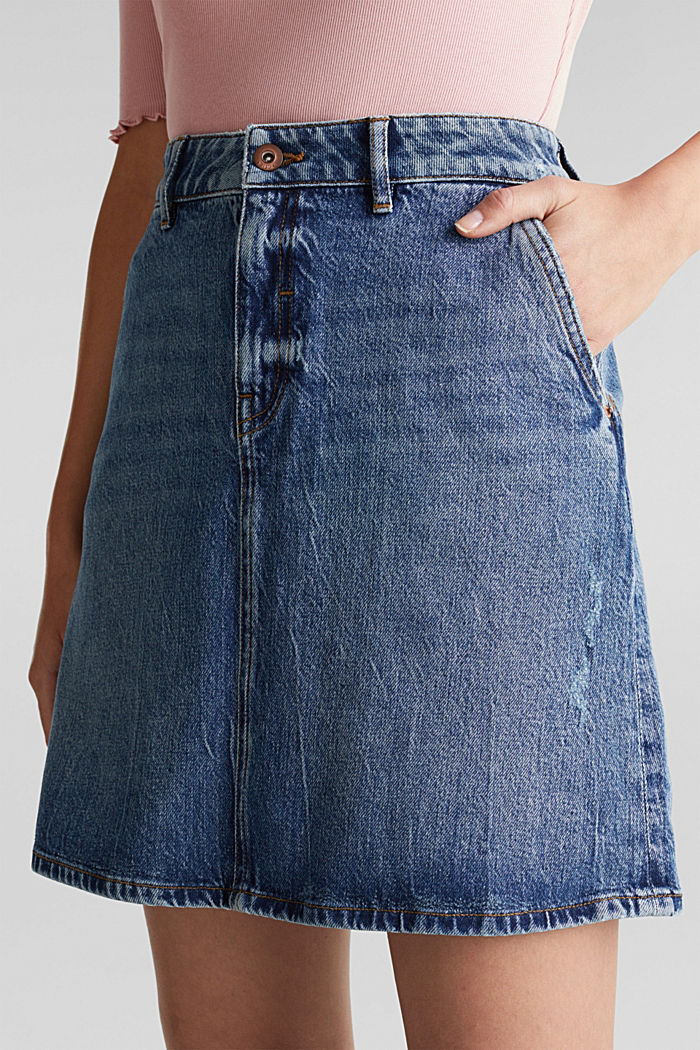 Denim skirt with organic cotton, BLUE MEDIUM WASHED, detail image number 2