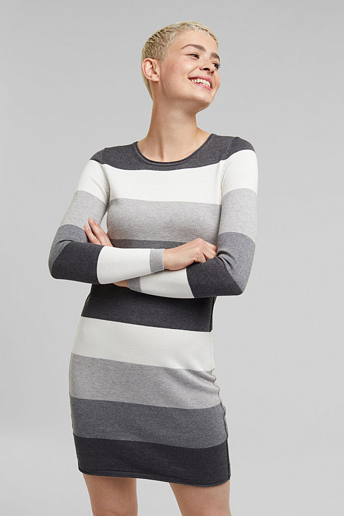 Essential knit dress containing organic cotton, DARK GREY, detail image number 0