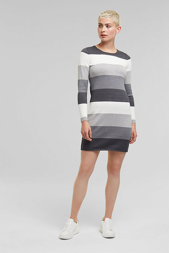 Essential knit dress containing organic cotton, DARK GREY, detail image number 1
