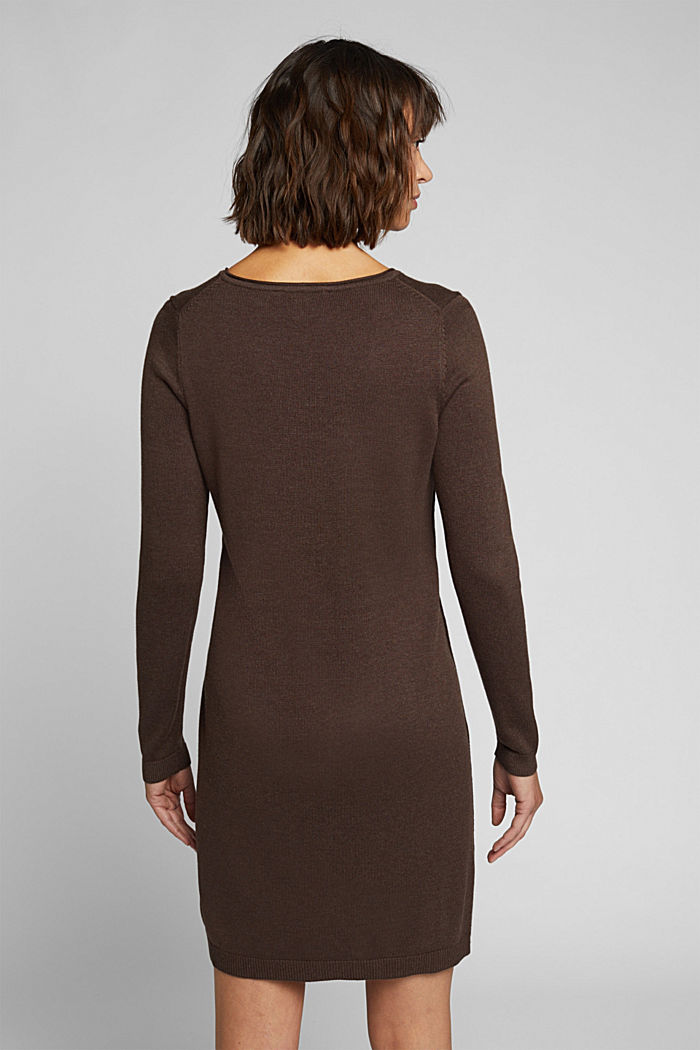 Essential knit dress containing organic cotton, DARK BROWN, detail image number 2