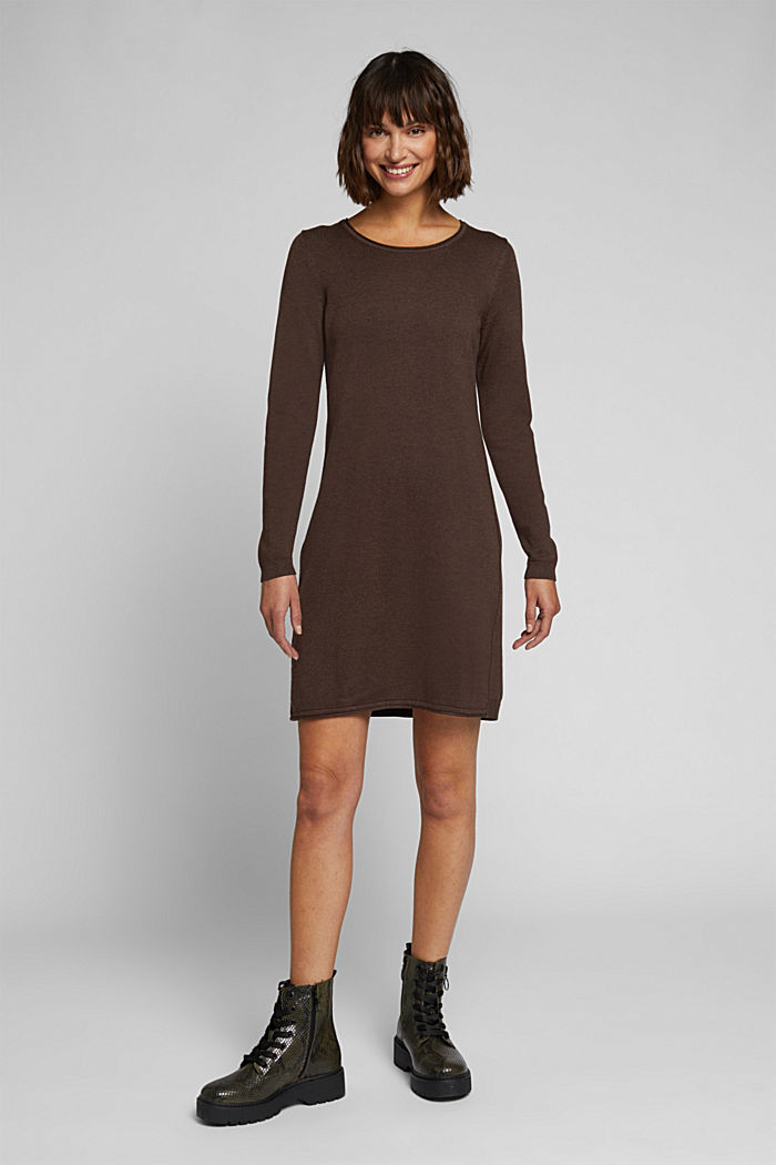 Essential knit dress containing organic cotton, DARK BROWN, detail image number 1