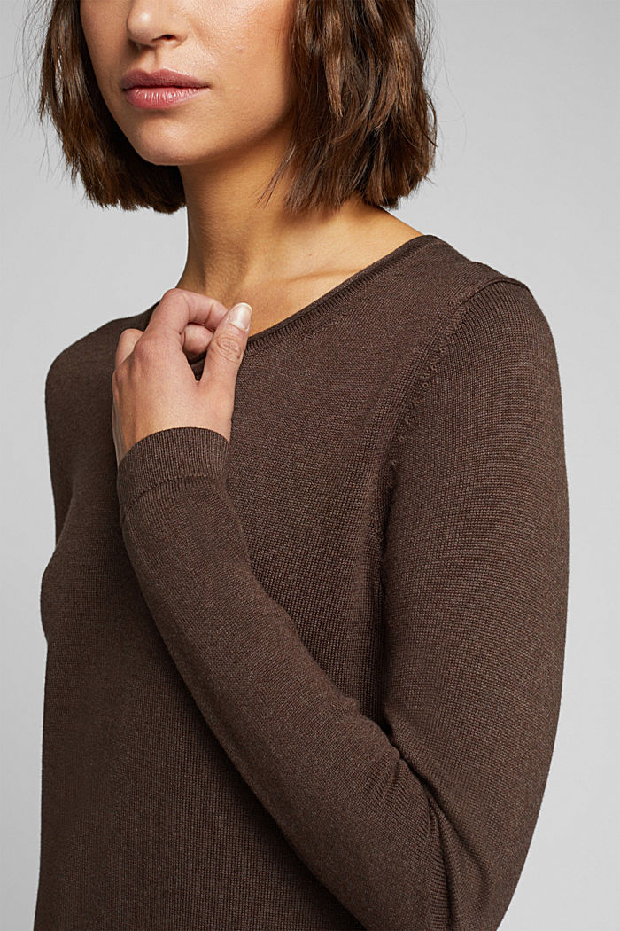 Essential knit dress containing organic cotton, DARK BROWN, detail image number 3