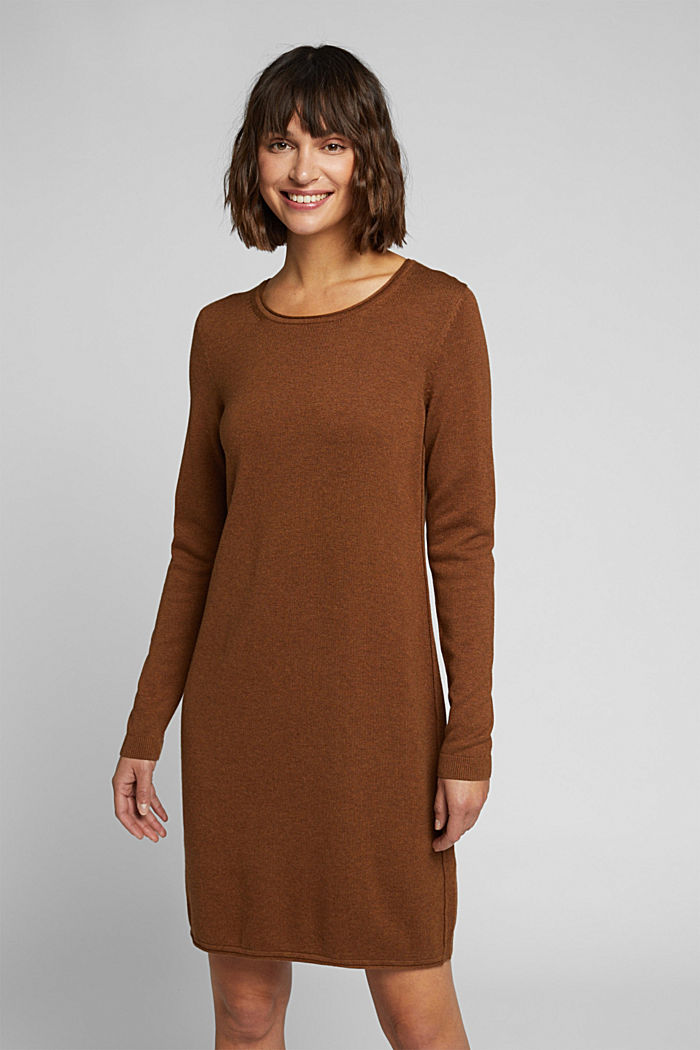 Essential knit dress containing organic cotton, TOFFEE, detail image number 0