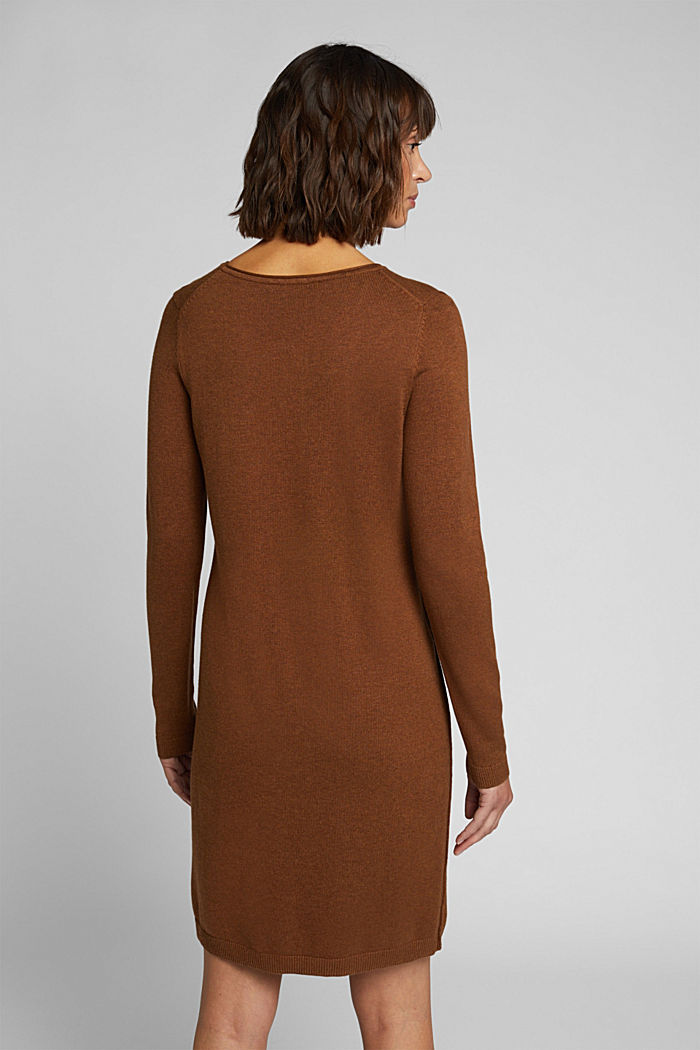 Essential knit dress containing organic cotton, TOFFEE, detail image number 2