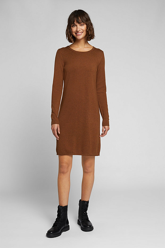 Essential knit dress containing organic cotton, TOFFEE, detail image number 1