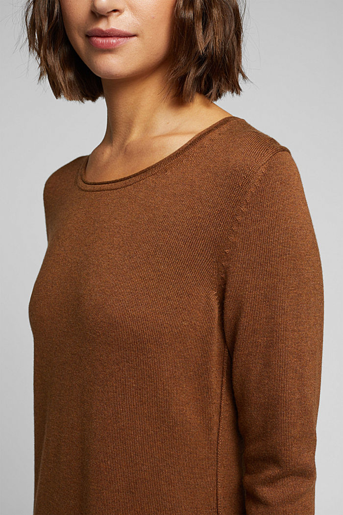 Essential knit dress containing organic cotton, TOFFEE, detail image number 3