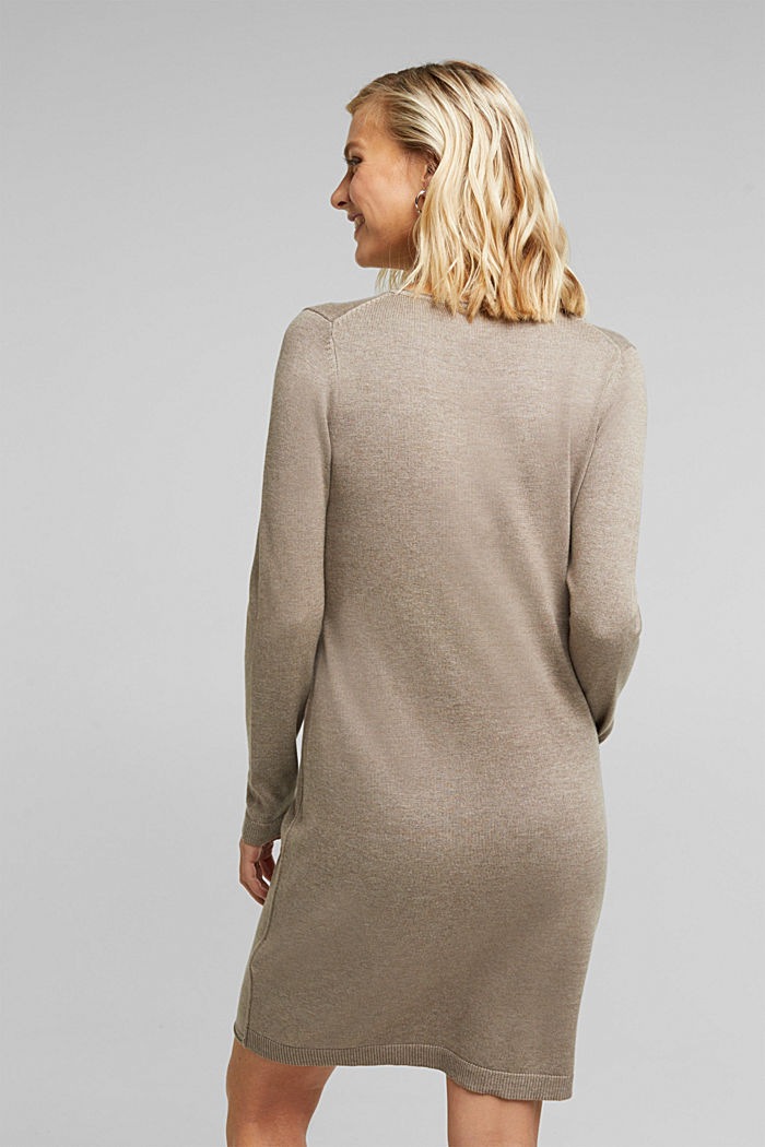 Essential knit dress containing organic cotton, TAUPE, detail image number 2