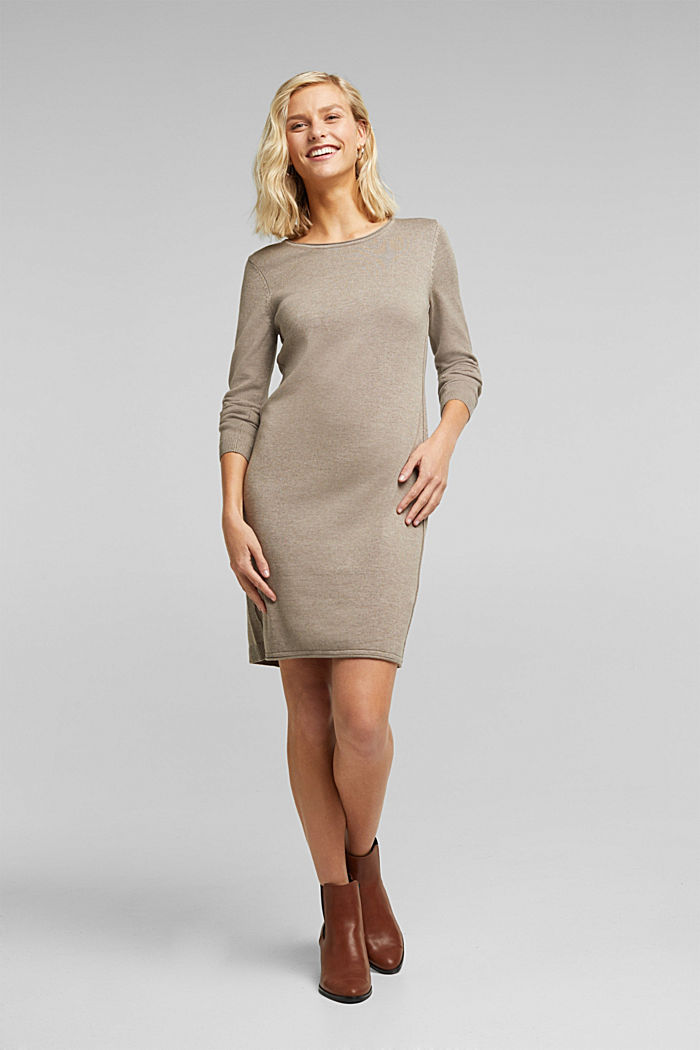 Essential knit dress containing organic cotton, TAUPE, detail image number 1