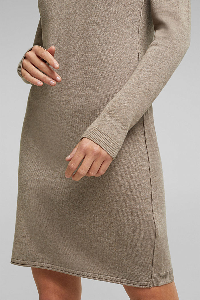 Essential knit dress containing organic cotton, TAUPE, detail image number 3