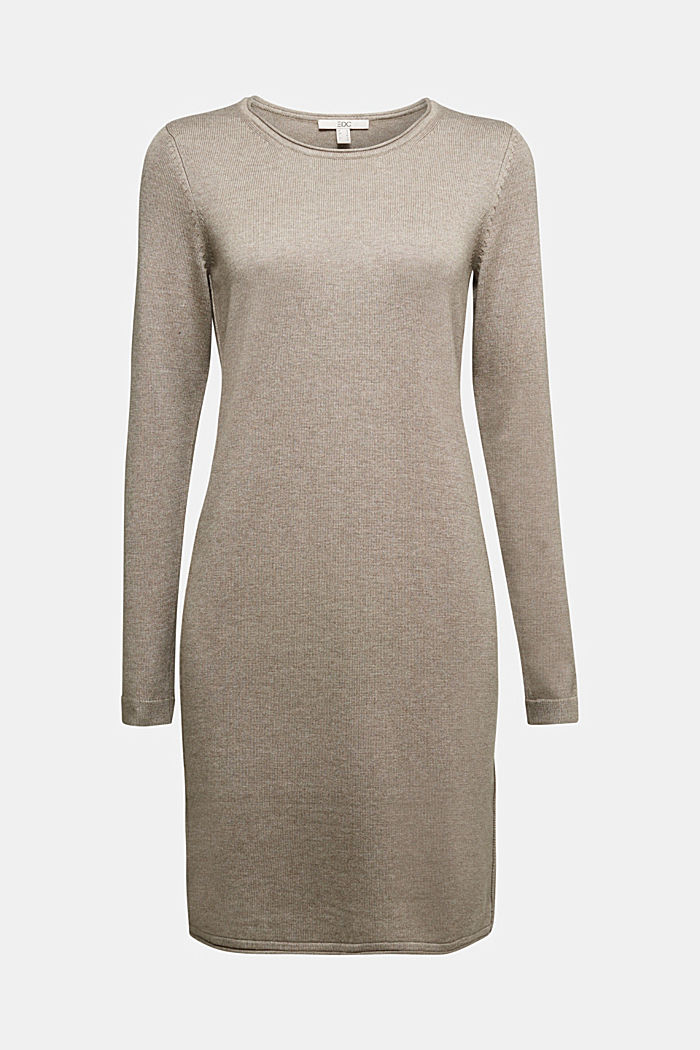 Essential knit dress containing organic cotton, TAUPE, overview