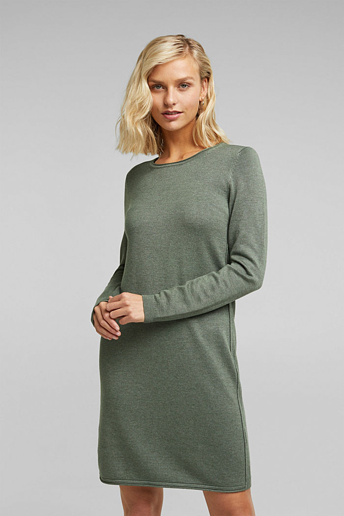 Essential knit dress containing organic cotton, KHAKI GREEN, detail image number 0