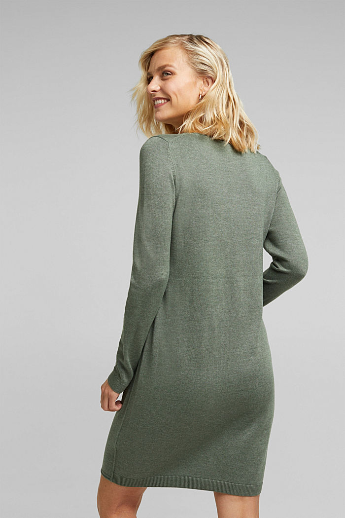 Essential knit dress containing organic cotton, KHAKI GREEN, detail image number 2
