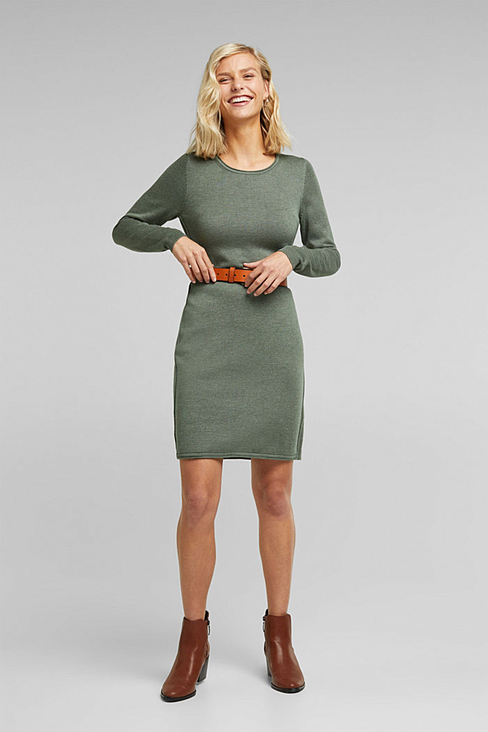 Essential knit dress containing organic cotton, KHAKI GREEN, detail image number 1