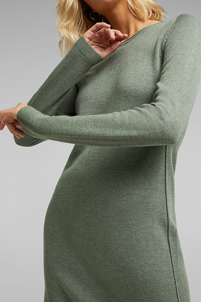 Essential knit dress containing organic cotton, KHAKI GREEN, detail image number 3