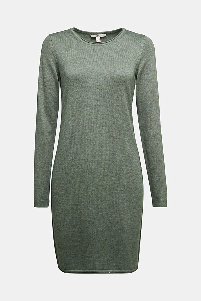 Essential knit dress containing organic cotton, KHAKI GREEN, detail image number 5
