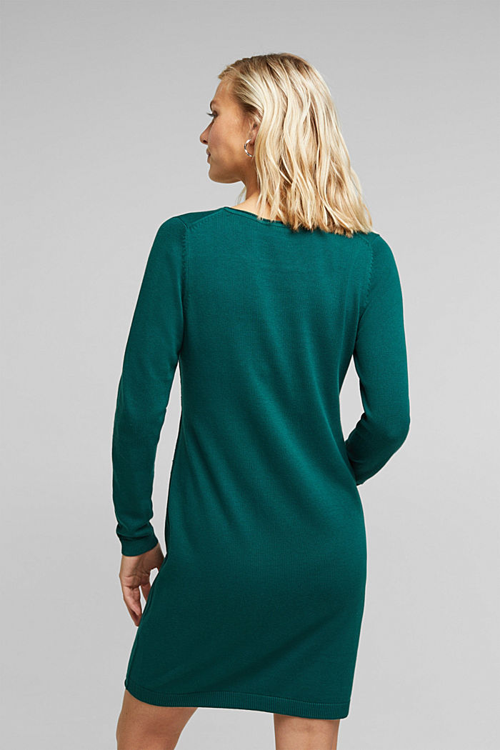 Essential knit dress containing organic cotton, DARK TEAL GREEN, detail image number 2