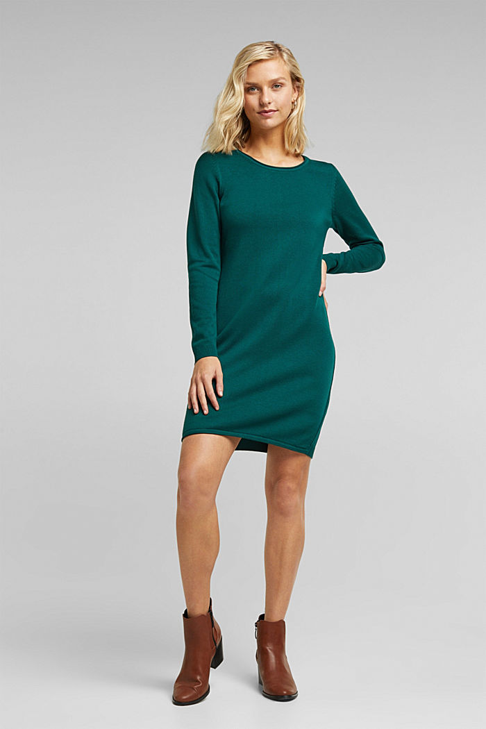 Essential knit dress containing organic cotton, DARK TEAL GREEN, detail image number 1