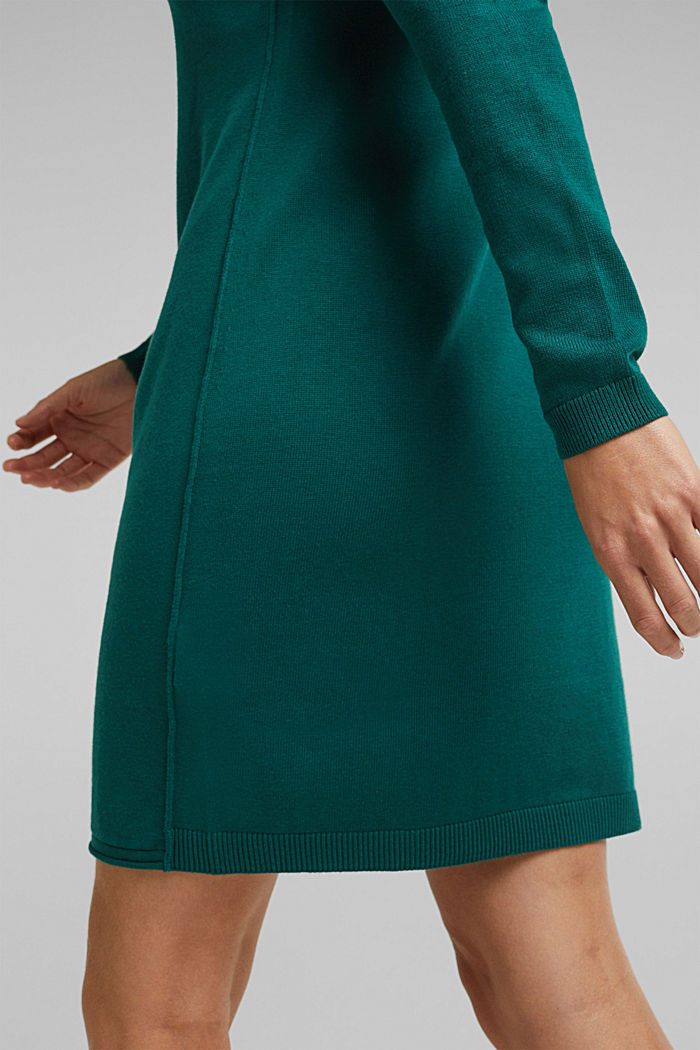 Essential knit dress containing organic cotton, DARK TEAL GREEN, detail image number 3