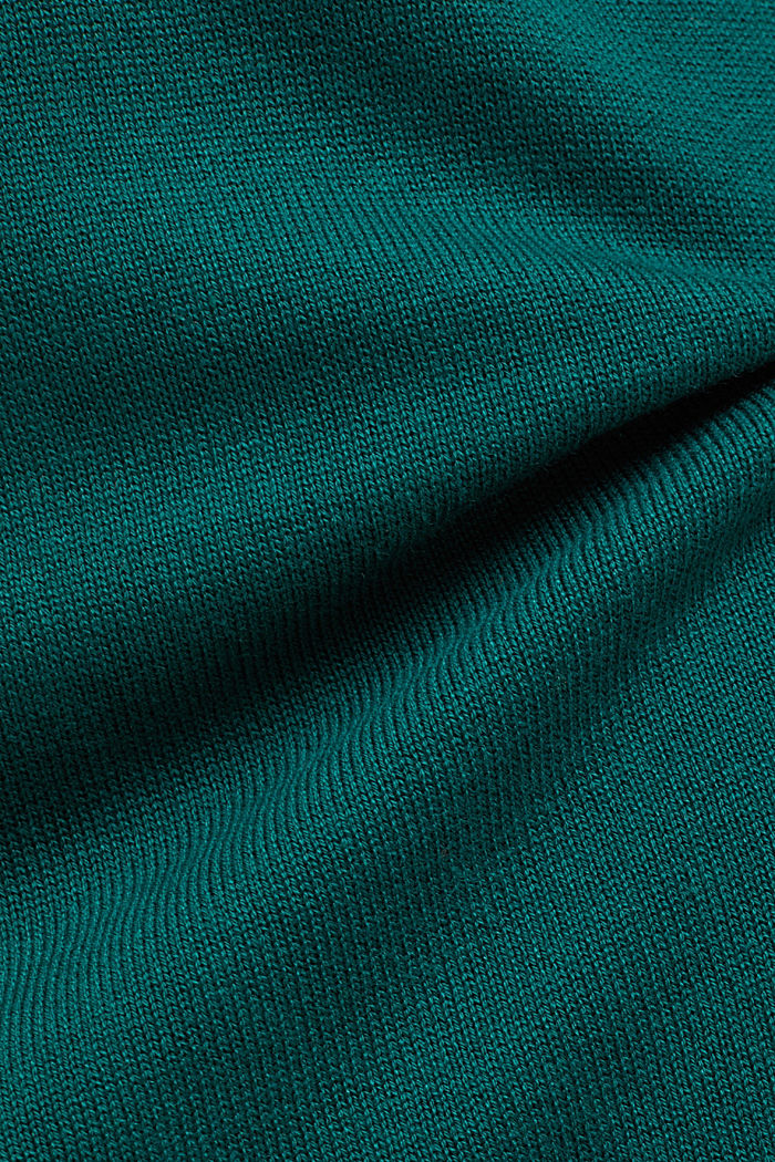 Essential knit dress containing organic cotton, DARK TEAL GREEN, detail image number 4