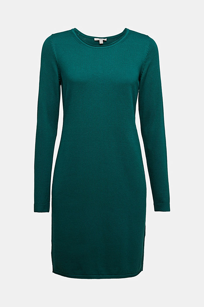 Essential knit dress containing organic cotton, DARK TEAL GREEN, detail image number 5