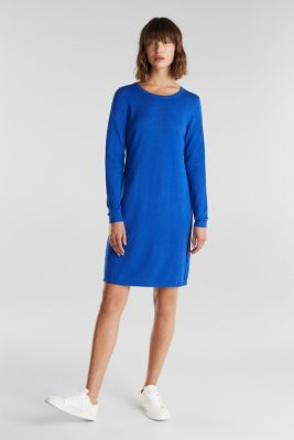 Essential knit dress containing organic cotton, BRIGHT BLUE, detail