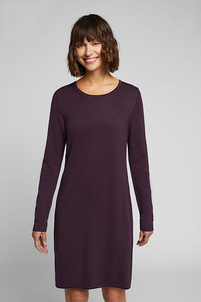 Essential knit dress containing organic cotton, AUBERGINE, detail image number 0