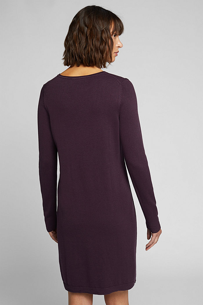 Essential knit dress containing organic cotton, AUBERGINE, detail image number 2
