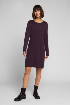 Essential knit dress containing organic cotton, AUBERGINE, detail