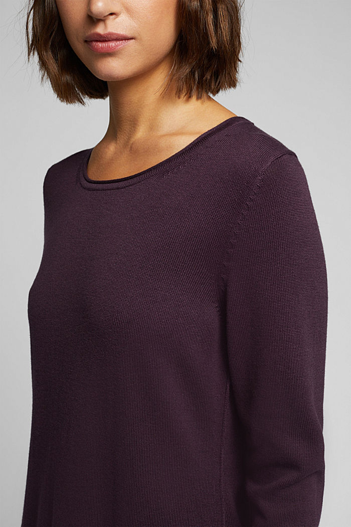 Essential knit dress containing organic cotton, AUBERGINE, detail image number 3