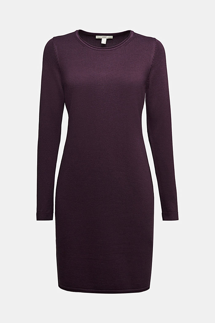 Essential knit dress containing organic cotton, AUBERGINE, detail image number 5