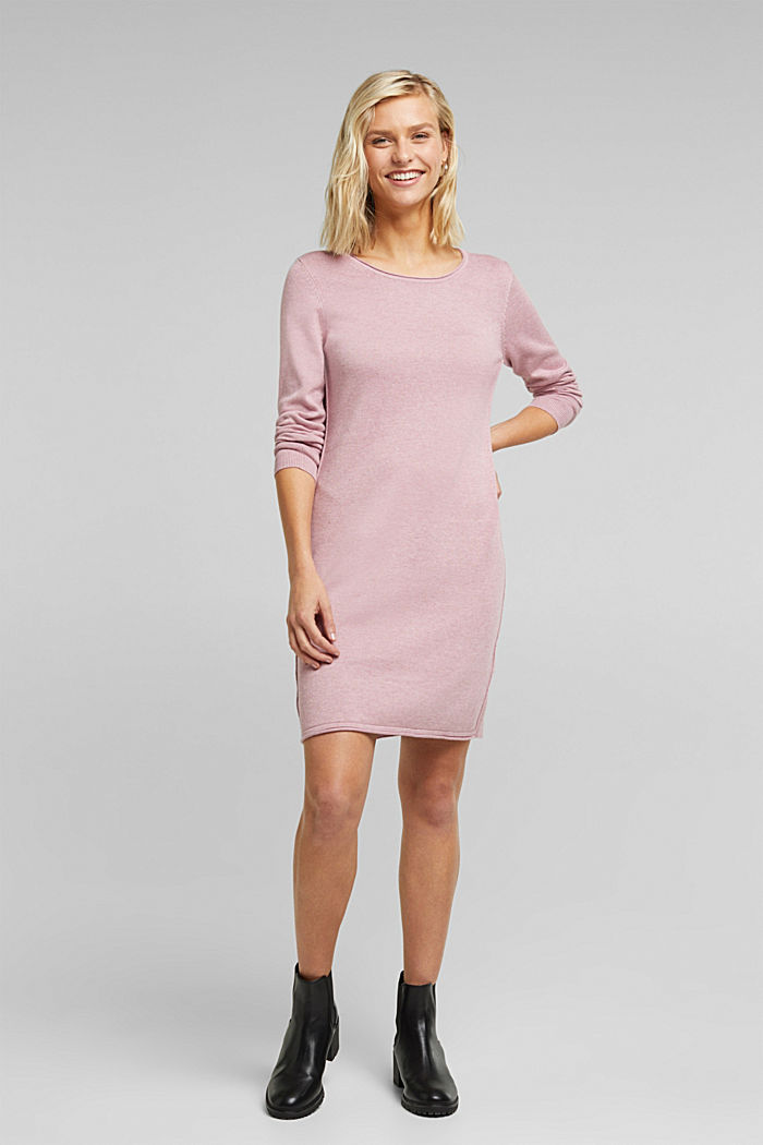 Essential knit dress containing organic cotton, MAUVE, detail image number 1