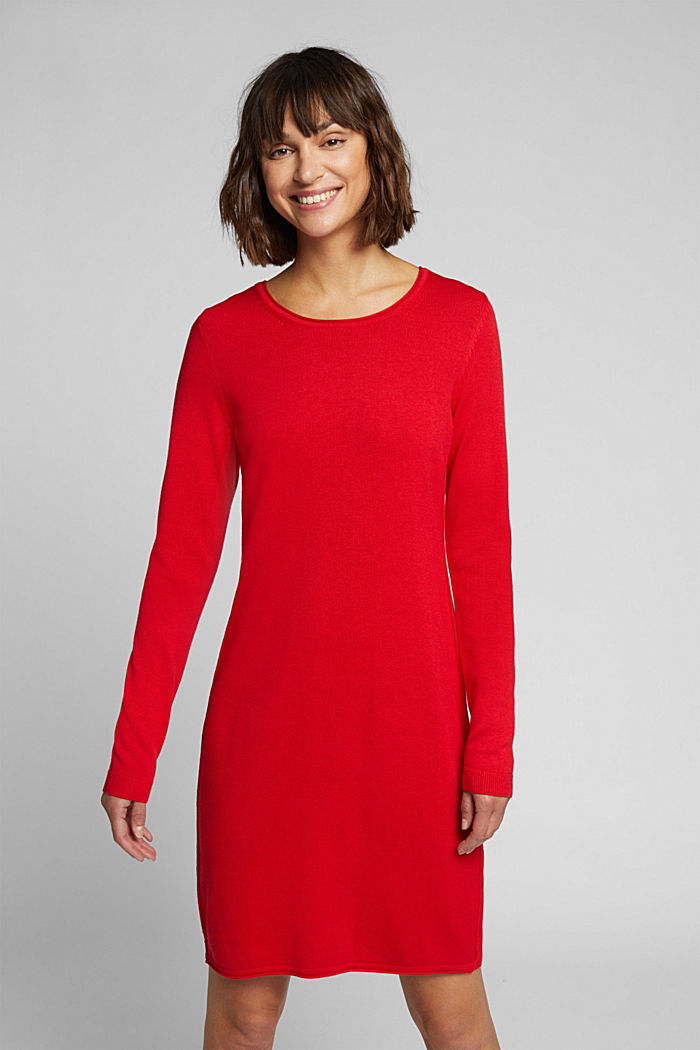Essential knit dress containing organic cotton, RED, detail image number 0