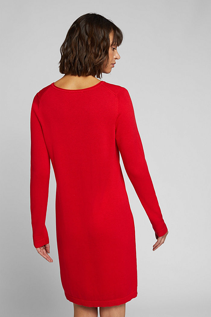 Essential knit dress containing organic cotton, RED, detail image number 2