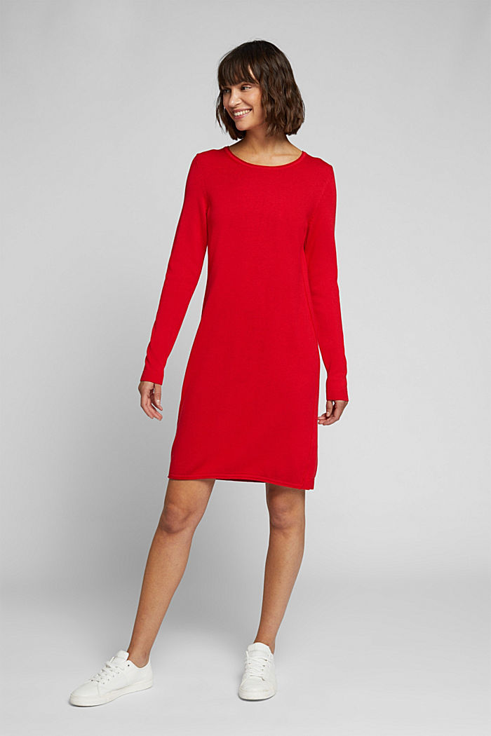 Essential knit dress containing organic cotton, RED, detail image number 1