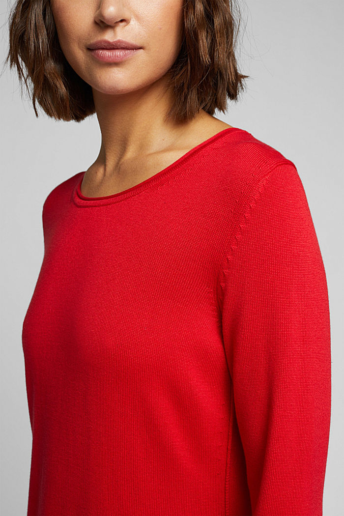 Essential knit dress containing organic cotton, RED, detail image number 3