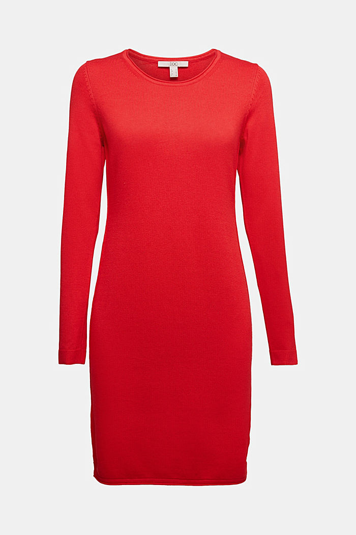 Essential knit dress containing organic cotton, RED, detail image number 6