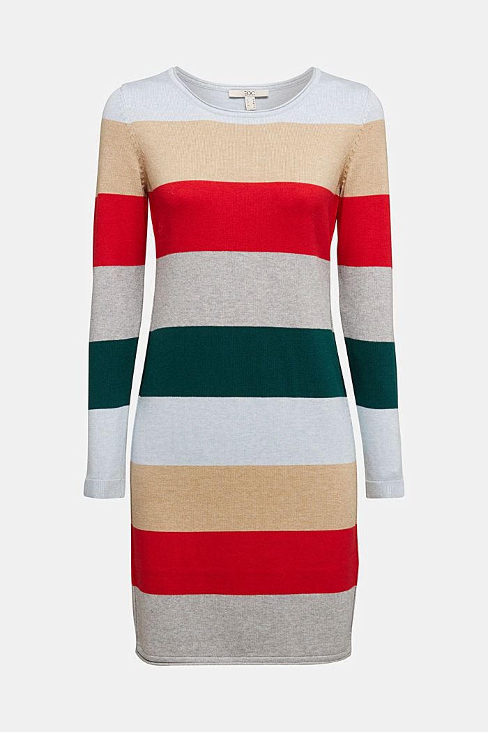 Essential knit dress containing organic cotton, RED COLORWAY, overview