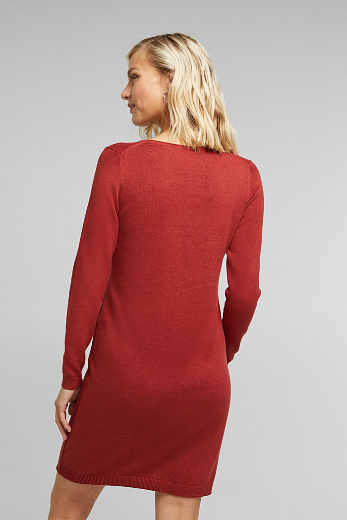 Essential knit dress containing organic cotton, TERRACOTTA, detail image number 2