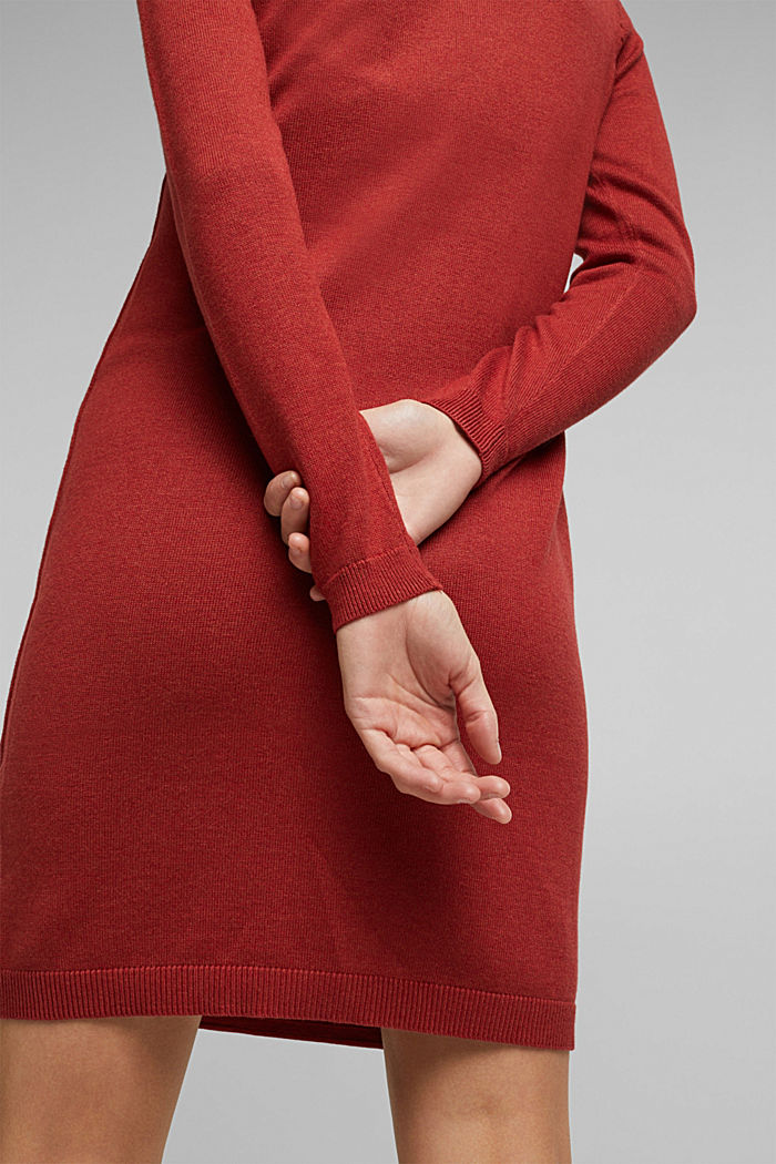 Essential knit dress containing organic cotton, TERRACOTTA, detail image number 3