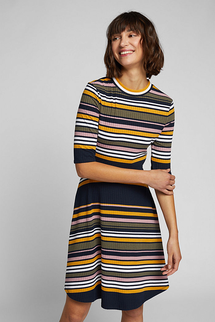 Rippstrick-Kleid im Streifen-Look, NAVY/YELLOW, detail image number 0