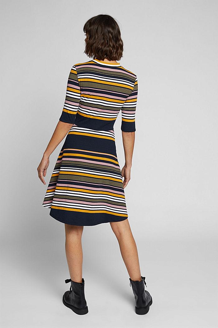 Rippstrick-Kleid im Streifen-Look, NAVY/YELLOW, detail image number 2