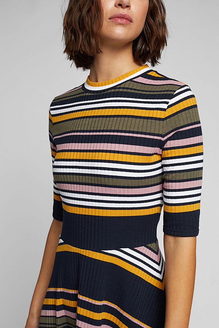 Rippstrick-Kleid im Streifen-Look, NAVY/YELLOW, detail image number 3